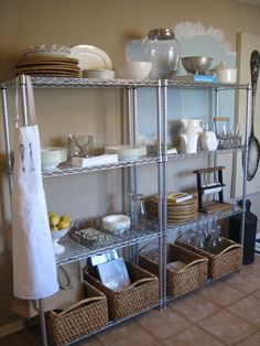 {Metro Shelving} While we're still in progress on our kitchen reno ~ see it from the beginning here ~ we've loved having extra storage . Bakery Kitchen, Home Bakery, Diy Kitchen, Kitchen Storage, Kitchen Decor, Kitchen Design, Wire Shelving Kitchen, Stainless Steel Kitchen Shelves, Kitchen Ideas