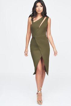 7fb7ebefa4bcf Cut Out Neck Wrap Midi Dress in Khaki Neck Wrap