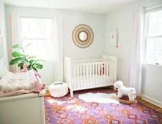 A Light & Bright Nursery Design: Q&A with Liz Joy of Pure Joy Home - Fresh American Style Bright Nursery, Chic Nursery, Nursery Rugs, Nursery Themes, Girl Nursery, Nursery Decor, Nursery Ideas, Project Nursery, Pom Pom Curtains