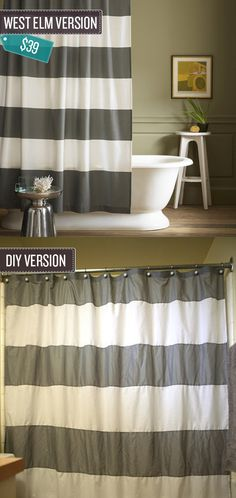 "Sew a striped shower curtain. | 24 West Elm Hacks. ""Make a nearly identical shower curtain by sewing together strips of basic cotton."""