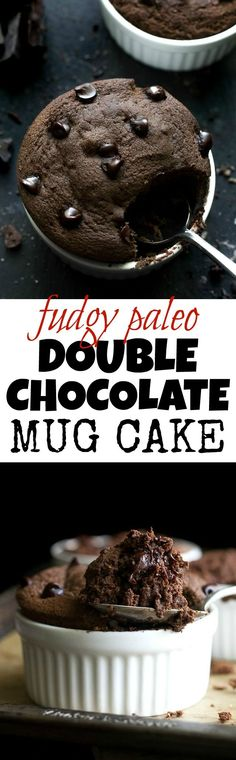 Fudgy Double Chocolate Mug Cake - satisfy those chocolate cravings in a healthy way with this paleo mug cake! Ready in 5 minutes, it makes for a delicious grain-free treat that everyone will love| runningwithspoons.com
