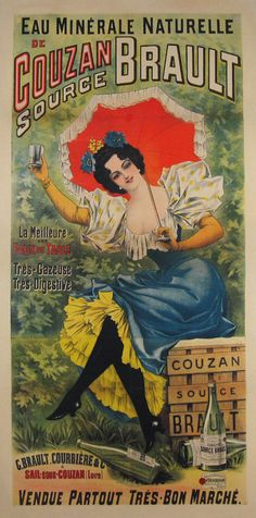 Eau de Couzan Brault from 1900 France #vintageposter #originalposter #art #posters #décor