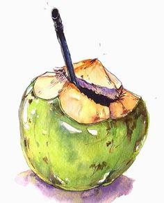 A - Watercolor&doodles - Watercolor Fruit, Watercolor Paintings, Watercolour Drawings, Arte Gcse, Mahalo Hawaii, Art Sketches, Art Drawings, Food Sketch, Fruit Painting