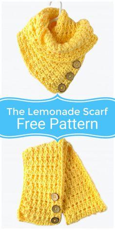 Free Crochet Lemonade Scarf Pattern - 10 Free Crochet Scarf Patterns Try These Winters Crochet Cowl Free Pattern, Tunisian Crochet, Easy Crochet, Crochet Hooks, Free Crochet, Crochet Patterns, Caron Cakes Crochet, Scarf Patterns, Yarn Colors