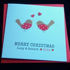 Handmade Personalised Two Little Robins Christmas Card / 1st Christmas together