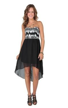 Deb Shops strapless tribal sequin bodice chiffon high low $36.90