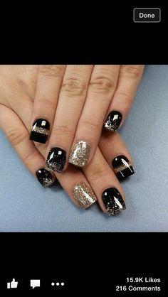 Black shellac & gold sparkle