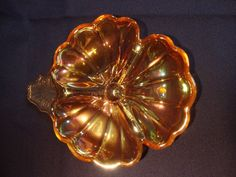 Jeannette 3 Section Divided Pansy or 3 Leaf Clover Iridescent Carnival Nut Dish