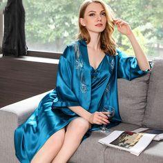 68dbfd7ae4 22 Momme Luxurious Mulberry Silk Nightgown Robe Set Pyjama Satin