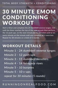 Try this Crossfit-style, 30 Minute EMOM Conditioning Workout to increase strength, improve fitness and have some fun! Workout can be scaled to suit your fitness abilities. Minimal equipment required. via Running on Real Food
