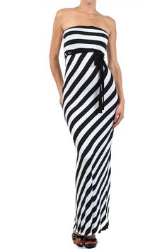 Fitted strapless striped maxi dress with tie waist. #sexymaxi #vannicboutique