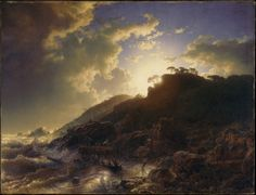 Andreas Achenbach (German, Kassel 1815–1910 Düsseldorf)    Sunset after a Storm on the Coast of Sicily