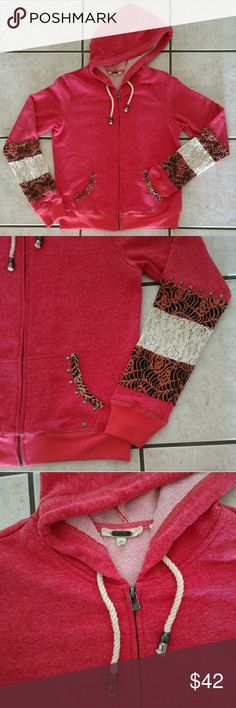 Selling this Miss Me Coral Zip Hoodie Lace Studs Sleeves M on Poshmark! My username is: tbennion. #shopmycloset #poshmark #fashion #shopping #style #forsale #Miss Me #Sweaters