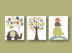Lot de 3 illustrations enfant decoration murale, tortue, elephant, bleu, orange, vert : Décoration pour enfants par galerie-anais