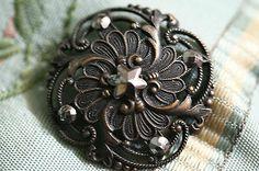 Absolutely Stunning Victorian Brass Steel Cut Swirl Large Button Antique   eBay