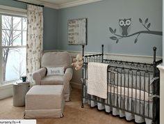 Owl themed nursery. Especially love the sign above crib <3