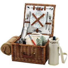 Cheshire 2-Person Picnic Basket with Coffee Set and Blanket