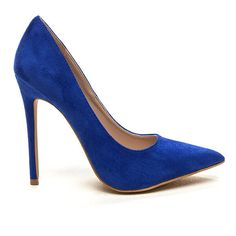 Heel Yeah Soft Faux Suede Pumps BLUE ($25) ❤ liked on Polyvore featuring shoes, pumps, heels, blue, pointed toe stilettos, pointed toe high heel pumps, heels stilettos, pointy toe pumps and high heels stilettos