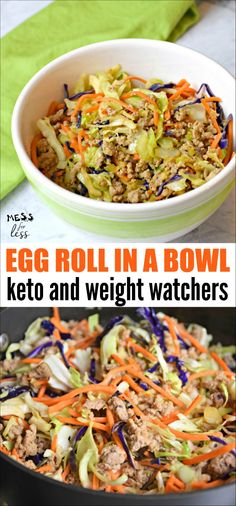 This Keto Egg Roll in a Bowl is one of my favorite low carb meals. All of your favorite egg roll flavors in this Keto Crack Slaw. Perfect for Keto or Weight Watchers diets. #eggrollinabowl #keto #lowcarb #weightwatchers #ketorecipes