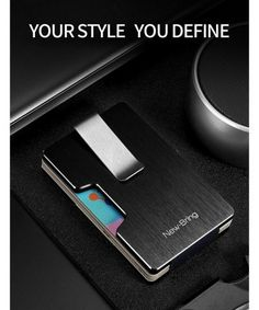 NewBring RFID Blocking Money Clip Wallet for Men and Women- Credit Card Holder- Minimalist Metal Wallet - Black - Leather Money Clip Wallet, Card Holder, Minimalist, Gift Wrapping, Bag, Metal, How To Make, Gifts, Women