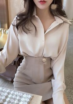 Apricot Single Breasted Turndown Collar Elegant Office Worker/Daily Blouse - DaysCloth Apricot Single Breasted Turndown Collar Elegant Office Worker/Daily Blouse Source by limalvina - Cute Work Outfits, Office Outfits Women, Spring Work Outfits, Stylish Outfits, Woman Outfits, Summer Business Attire, Business Outfit, Fashionista Trends, Modest Fashion