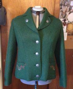 Vintage GU Tra Austrian Boiled Wool Green Coat 42 L 12 14 | eBay