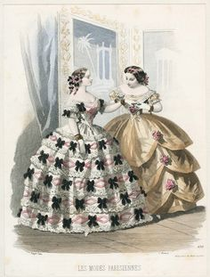 Fashions of 1855, Les Mode Parisienne The black bow dress needs to be mine.  That is all.