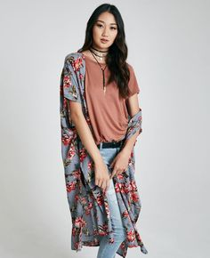 awesome Floral Print Duster Kimono | Wet Seal