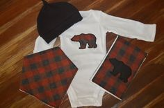 Mountain baby bear red check baby shower gift by GoodnessGrayson