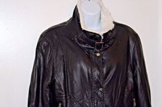 STEVE MADDEN Womans Jacket Large Black Faux Leather Bomber Faux Fur Collar #SteveMadden #BomberJacket #Casual
