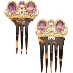 Preowned Victorian Amethyst Gold Tortoise Hair Combs ($3,800) ❤ liked on Polyvore featuring accessories, hair accessories, hair, tiara, purple, vanity items, tortoise comb, purple hair accessories, comb tiara and gold comb