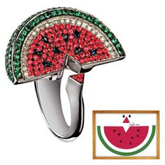 """Watermelon"" painting and ring in 18K white gold, diamonds, pink and blue sapphires, and tsavorites by Cris Porto for Gustavo Rosa"