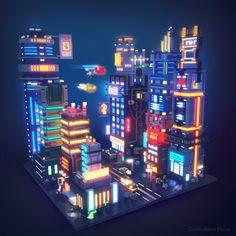 Voxel cyberpunk town by Elena Dudnakova on ArtStation. Cyberpunk City, Ville Cyberpunk, Futuristic City, Isometric Art, Isometric Design, Game Level Design, Game Design, Art Isométrique, Pixel Art