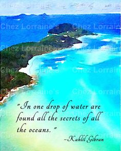 Secrets of the Ocean:  A Kahlil Gibran Quote Watercolor Fine Art Reproduction Photographic Print of the Ocean