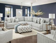 "SM8189 2 pc Latitude run pelham gray soft weave fabric sectional sofa. This set features a soft weave fabric upholstery with set back arms and pillow backs. Sectional measures 111"" x 111"" x 40"" D x 35 1/2"" H . 30 1/2"" seat depth, 20 1/2"" seat height. Some assembly may be required."