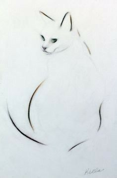 ARTFINDER: Dark Eyes by Kellas Campbell - Charlie, my cat, looks to be part Siamese and part Tabby. She is mostly a creamy white colour, though. This graphite, pastel and charcoal pencil drawin.Risultati immagini per kellas campbellKellas Campbell - Cat Drawing, Line Drawing, Painting & Drawing, Cat Embroidery, Art Japonais, Art Graphique, Art Techniques, Crazy Cats, Animal Drawings