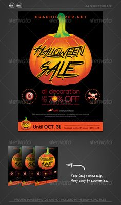 [ Halloween Sale Flyer Template ]A4 size(21.029.7cm)   0.6cm Bleed, CMYK Print Ready.Fully-layered Photoshop PSD CS2 or higher 300DPI Fully-layered Indesign CS4 or higherEasy to customize and Change ColorExcellent for your multipurpose corporate usage.Font used: lato,Nexa,True Lies,SocialLogosExclusive on Graphicriver Only.Preview images are not i