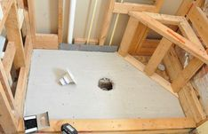 Bathroom Remodel: How to pour a shower pan - great website Basement Bathroom, Small Bathroom, Bathroom Ideas, Bathroom Makeovers, Concrete Bathroom, Master Bathrooms, Bathroom Vanities, Bathroom Shower Remodel, Open Basement