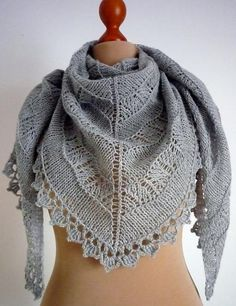 Triangular wrap - yarn of a wool and silk mix - size 200 cm length by 95 cm at widest point - love it!! by MADEVALINEN