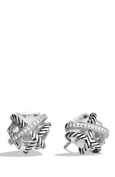 David Yurman 'Cable Wrap' Earrings with Crystal and Diamonds available at #Nordstrom