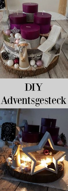 unser Adventsgesteck aus Baumscheiben - Easy, quick and cheap to make an Advent arrangement from tree slices and Christmas decorations from the 1 € shop. Nevertheless, this modern DIY advent wreath is a mega eye-catcher on every table. Christmas Time, Christmas Wreaths, Christmas Crafts, Christmas Ornaments, Cheap Christmas, Christmas Candles, Thanksgiving Crafts, Advent Wreath, Diy Wreath