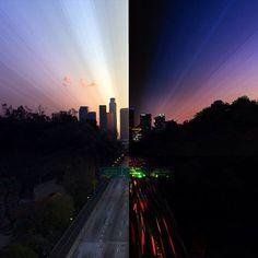 龍國竣/リュウゴク @Ryuugoku  8月18日 ダニエル・マーカー・ムーアによる作品。アメリカの写真家。ニューヨーク、ロサンゼルス、東京や上海を舞台に、日の出や日没の時間を、タイムスライス撮影と呼ばれる特殊な撮影方法で捉えています。現在30歳です。