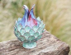 Francey Doherty - Little Artichoke-Stoneware on Keruin wood base