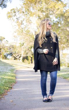 I always love a cape. Cute striped shirt and flats too!