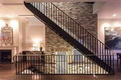 Rough-luxe interior design for Battersea Power Station's new flats Battersea Power Station, Amazing Spaces, Exposed Brick, Brick Wall, Ground Floor, Architecture Design, Stairs, Home And Garden, Interior Design