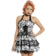 Hot Topic Hearts & Roses Black & White Baroque Skull Print Halter... ($40) ❤ liked on Polyvore featuring halter top, gothic victorian dresses, black and white cocktail dress, goth dresses and halter dress