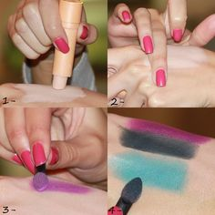 How to test the true colors of eye shadows, etc. First blend concealer or foundation on the back of your hand. Then swatch the eye shadows and voila - true pigmented color! Since you should be putting a primer on your lids before applying eye makeup, this will give you a great idea of what the shadows will look like!