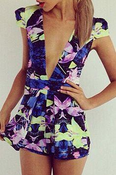 0d858c268244 Floral Print Plunging Neck Playsuit. Floral PlaysuitShort JumpsuitJumpsuits  ...