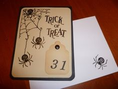 Handmade Greeting Card - Halloween - Spiders Trick or Treat