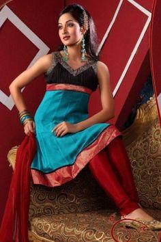 Trendy Anarkali Style Churidar Kameez Set